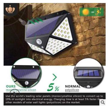 厂家直销跨境电商新爆款太阳能灯四面100LED人体感应灯壁灯庭院灯