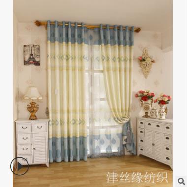 窗帘厂家直销麻料遮光窗帘客厅卧室窗帘印花窗帘现代简约成品定做