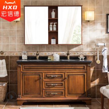 美式浴室柜组合洗手盆双盆落地卫生间洗漱台实木卫浴洗脸手盆柜