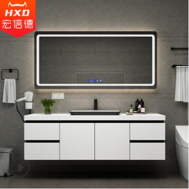 北欧浴室柜组合智能镜简约现代卫浴柜实木挂墙式洗手洗脸盆洗漱台