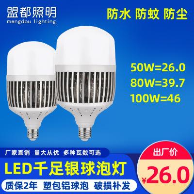 大功率LED灯泡 工程专用50W80W100W千足银球泡 节能灯泡厂家批发