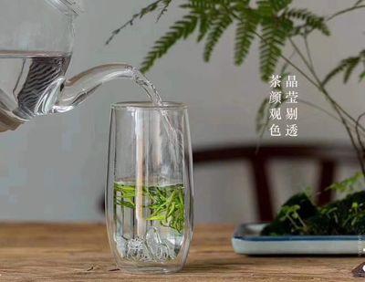 猴魁杯耐热玻璃杯透明功夫绿茶杯观山双层杯直筒杯水杯家用茶具