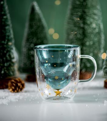 厂家直销创意双层玻璃杯 圣诞树星愿水杯 耐高温马克杯圣诞杯子