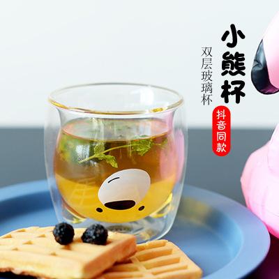 小熊杯抖音同款网红玻璃杯双层咖啡杯牛奶杯 2019情侣杯灭霸杯