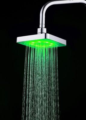 跨境电商专供LED顶喷 感温/七彩发光变色6寸大花洒喷头 8020-B1