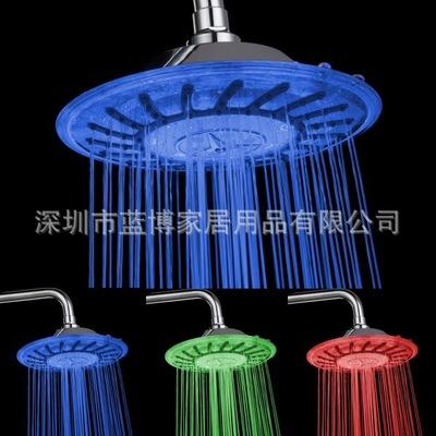 LED顶喷 温控三色感温变色发光8寸圆形淋浴头 库存特价 LD8030-A3