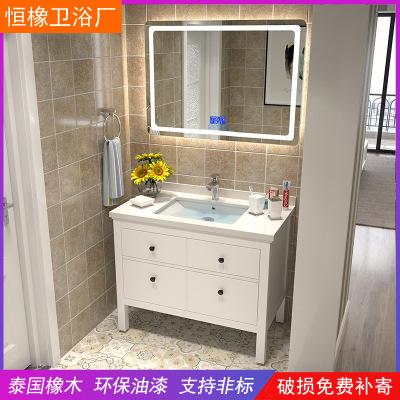 恒橡北欧浴室柜厕所洗手盆柜现代简约落地式洗脸盆柜卫生间洗漱台