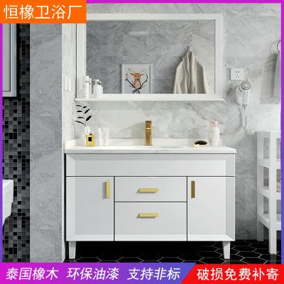 现代简约浴室柜组合洗手洗脸盆柜北欧落地式实木卫生间洗漱卫浴柜