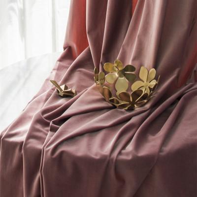 现代简约轻奢中式加厚绒布窗帘成品定制棉绒天鹅绒玫瑰色北欧脏粉