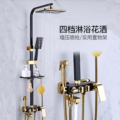 黑色淋浴花洒套装全铜家用欧式浴室增压沐浴淋雨喷头挂墙式淋浴器