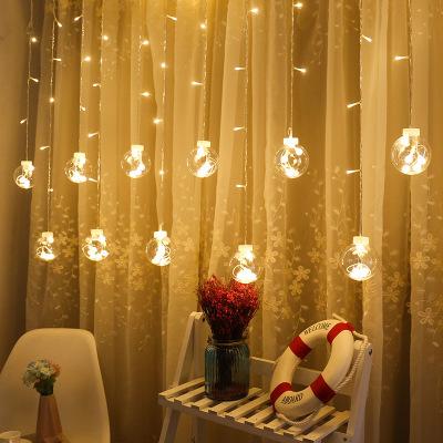 led心愿球灯节日满天星窗帘灯ins装饰背景灯圣诞节网红房间挂灯