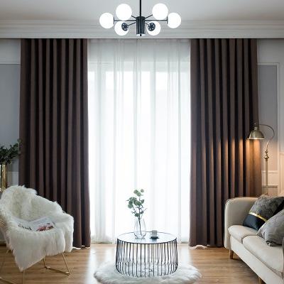 简约现代新中式轻奢雪尼尔窗帘 客厅卧室高遮光窗帘布料成品定制