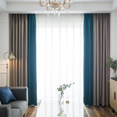 2019新款纯色遮光窗帘布 跨境专供窗帘面料 卧室飘窗窗帘成品定制