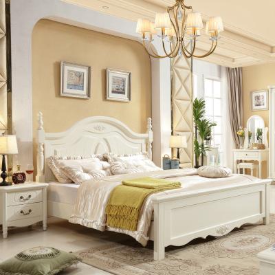 李布艺简约欧式风格实木床1.8米韩式白色双人现代简约实木床
