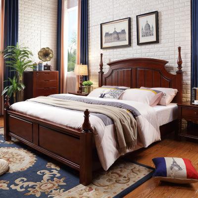 美式全实木床双人床1.8m1.5米乡村美式风格家具卧室婚床主卧大床