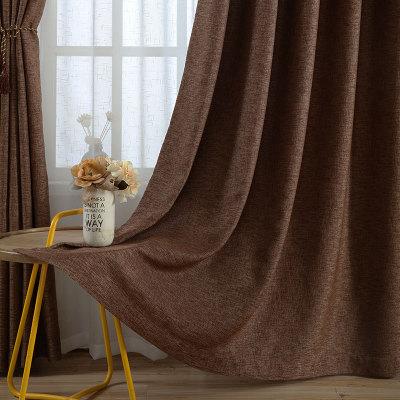 新款高档全遮光窗帘布 纯色仿麻窗帘酒店工程防晒面料成品定制