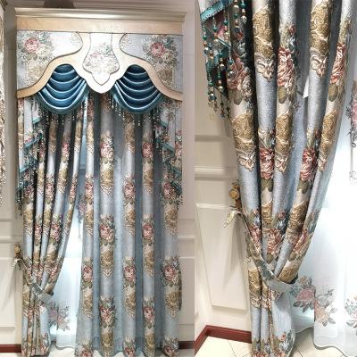 精美色织浮雕提花窗帘定制 遮光客厅卧室高精密提花欧式窗帘柯桥