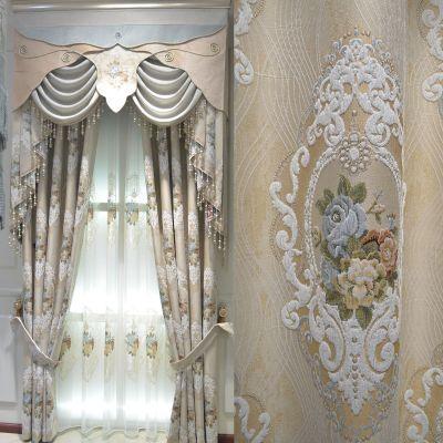欧式窗帘全屋定制 夏季高精密雪尼尔提花窗帘布 遮光隔热客厅窗帘