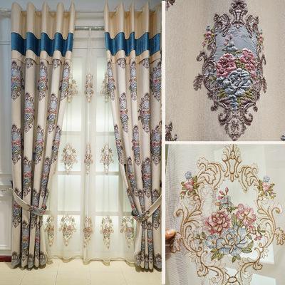 新品雪尼尔浮雕窗帘欧式遮光客厅卧室奢华大气欧式窗帘布厂家直销