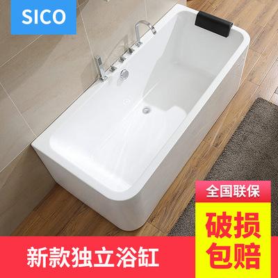 圣玉卫浴亚克力新款独立式一体无缝民宿浴缸家用浴盆酒店批发浴缸