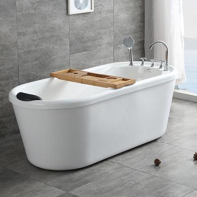 圣玉卫浴亚克力家用独立式普通成人浴缸浴盆保温小浴缸1-1.5米