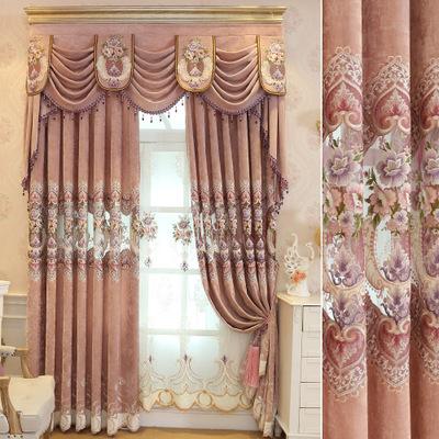 窗帘布料厂家直销爆款防羊绒雪尼尔欧式绣花布艺窗帘布成品订制