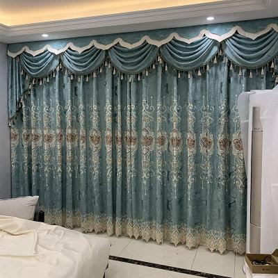 窗帘布料厂家直销 新款客厅布艺窗帘成品 绣花北欧窗帘窗纱