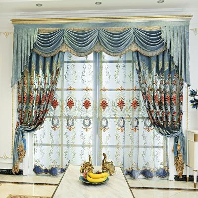 欧式窗帘成品大气奢华窗帘布批发雪尼尔欧式绣花客厅窗帘窗纱
