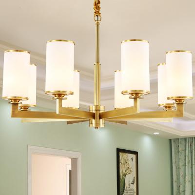 全铜美式吊灯经典百搭全铜新中式简约吊灯客厅餐厅房间灯定制铜灯