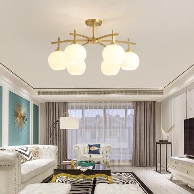 客厅灯北欧魔豆吊灯简约现代全铜大气家用餐厅卧室灯美式吸顶灯具