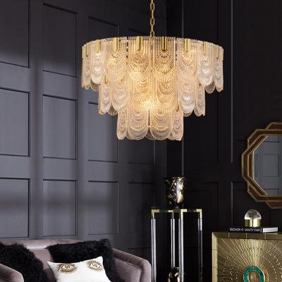 2019网红新款轻奢水晶玻璃全铜单双三层吊灯后现代客餐厅卧室灯具