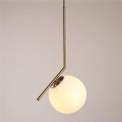 北欧卧室床头小吊灯现代简约创意餐厅吧台玄关过道灯玻璃圆球吊灯