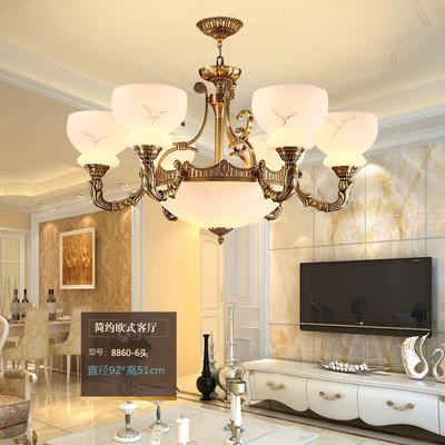 欧式全铜吊灯纯铜灯高端欧式复古客厅餐厅仿云石灯具厂家批发df