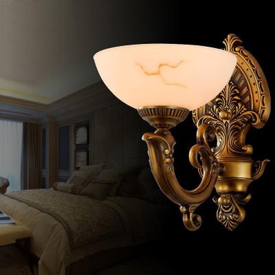 全铜欧式壁灯创意大气卧室床头壁灯高档客厅仿云石单双头墙壁灯