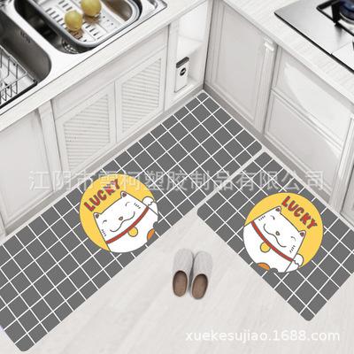 欧风耐磨防滑门垫厨房垫家用防水防油PVC皮革厨房卡通地毯块毯