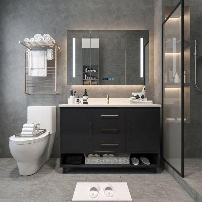 简约后现代浴室柜组合全实木橡木卫生间洗漱台轻奢洗脸盆柜智能镜