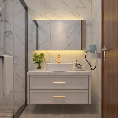 北欧圆镜实木橡木浴室柜组合简约轻奢美式卫生间洗手洗漱台盆吊柜