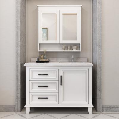 美式橡木落地卫浴柜洗漱台卫生间洗脸盆柜洗手盆柜实木浴室柜组合