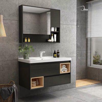 现代简约轻奢北欧小户型实木落地柜浴室柜卫生间洗漱台洗脸盆包邮