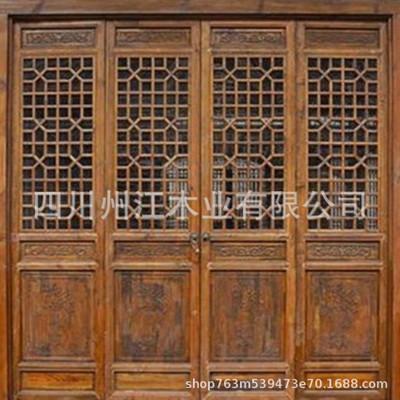 厂家生产花格实木门窗 实木线条门窗 复古实木门窗