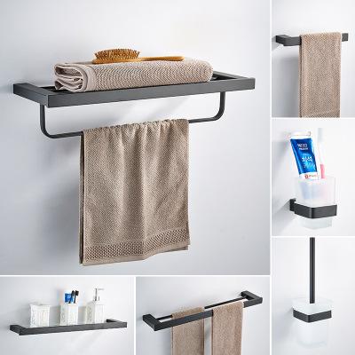 臻玉 浴室置物架黑色浴巾架卫生间304不锈钢毛巾架卫浴挂件套装