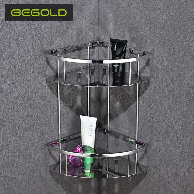 304不锈钢双层三角架篮 卫浴五金置物架挂件 浴室厨卫扇形转角架