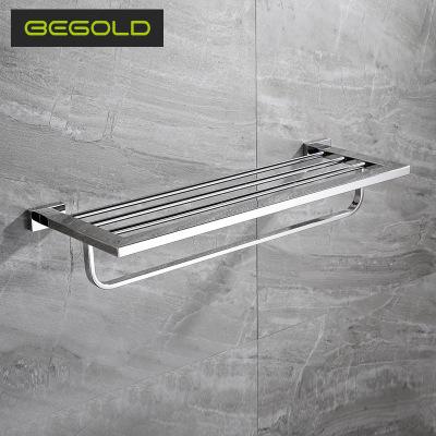 304不锈钢双层毛巾架卫浴置物架 浴室卫生间浴巾架 五金挂件批发