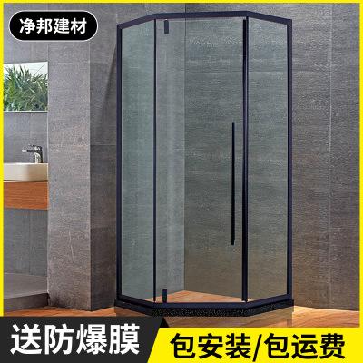 定制磨砂黑钻石形淋浴房 304不锈钢整体隔断简易卫生间洗浴室