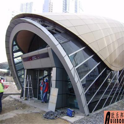 欧邦铝单板厂家专业生产定制木纹氟碳包柱造型冲孔镂空雕刻铝单板