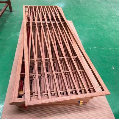 定制无焊接密拼热转印木纹风水铝屏风隔断 高难度欧乐邦铝窗花