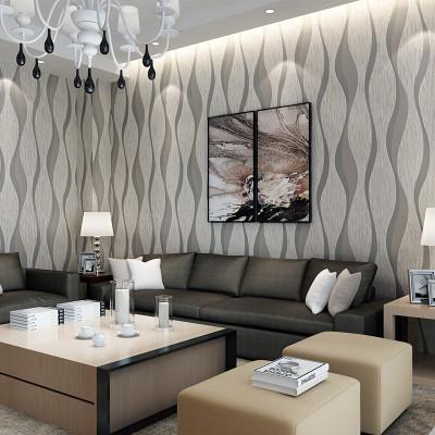 外贸批发简约现代无纺布壁纸抽象灰色条纹3d立体走廊店铺宾馆墙纸