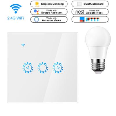 彪王Wifi调光触摸遥控智能定时开关 手机APP和alexa语音调光开关