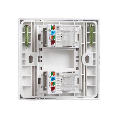德力西86型两位双口网线电脑插座面板二位光纤宽带插座【信号强】