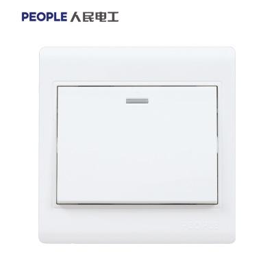 人民电器开关插座五孔插座面板86型家用暗装墙壁开关插座白色 N